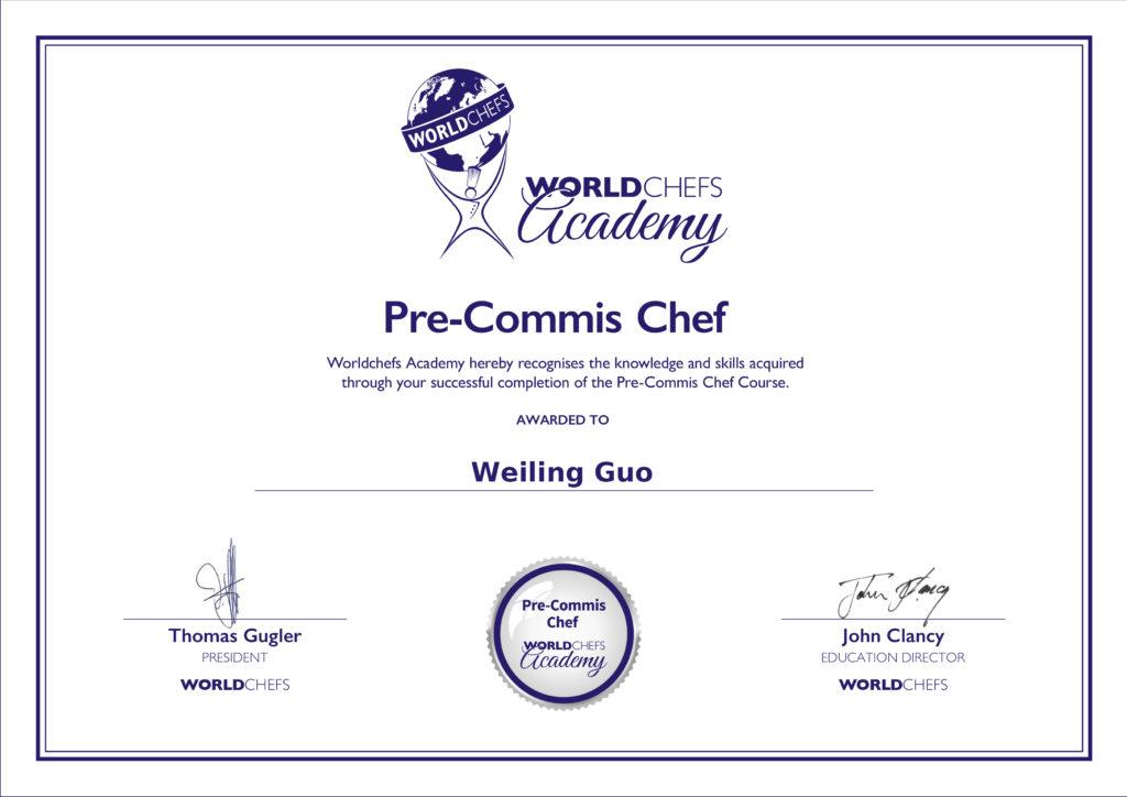 WORLDCHEFS Academy Certificate